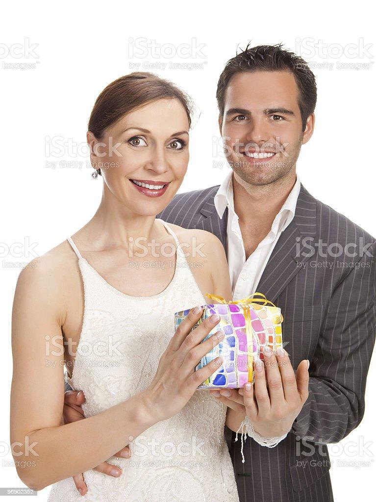 fashion couple, studio shot on white royalty-free stock photo