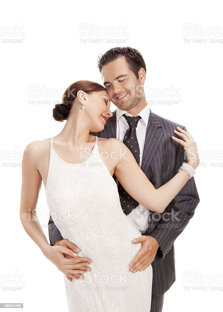 fashion couple, studio shot on white royalty-free stock photo