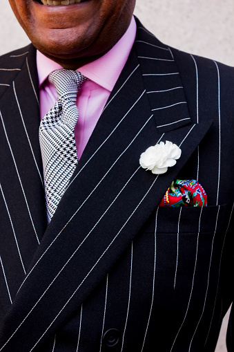 Fashion dandy in close ups of suit segments
