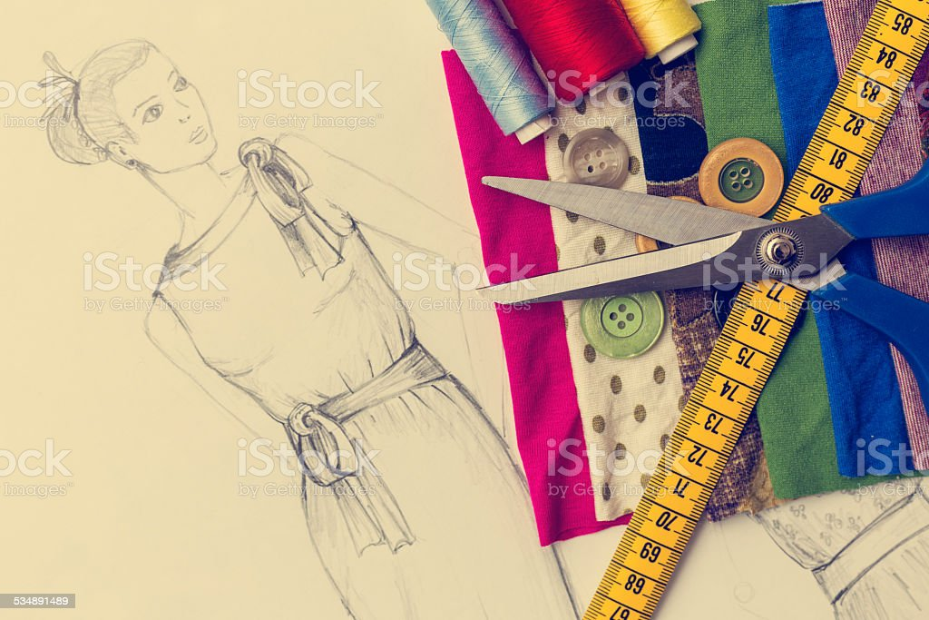 Fashion Design Sketch On Table Stock Photo Download Image Now Istock