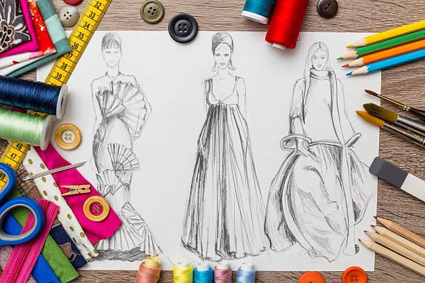 mode et design croquis - croquis de stylisme de mode photos et images de collection