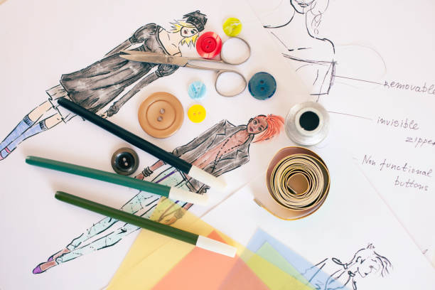 fashion designer drawings - sketch stock photos and pictures