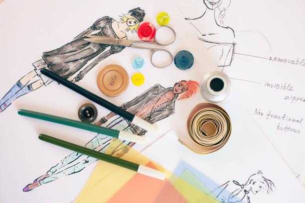 Fashion designer drawings stock photo