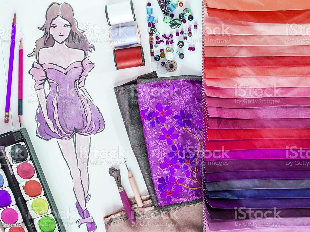 Fashion designer material sample and hand-drawn illustration stock photo