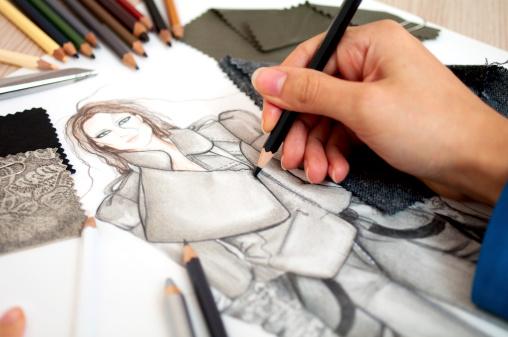 Fashion design sketch stock photos