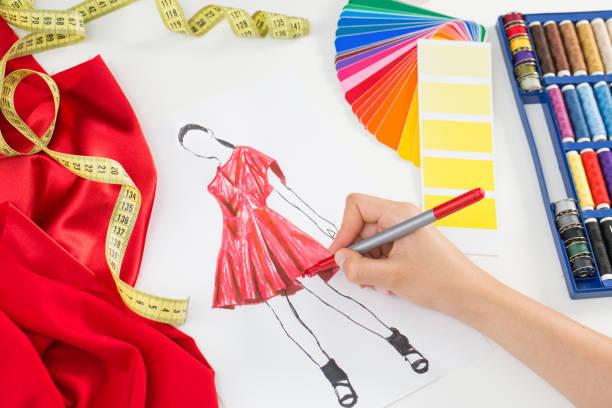 Fashion designer Fashion designer working in studio. Close up design. fashion designer stock pictures, royalty-free photos & images