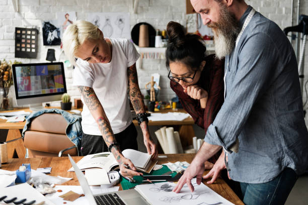 fashion designer sketch drawing costume concept - tattoo ideen stock-fotos und bilder