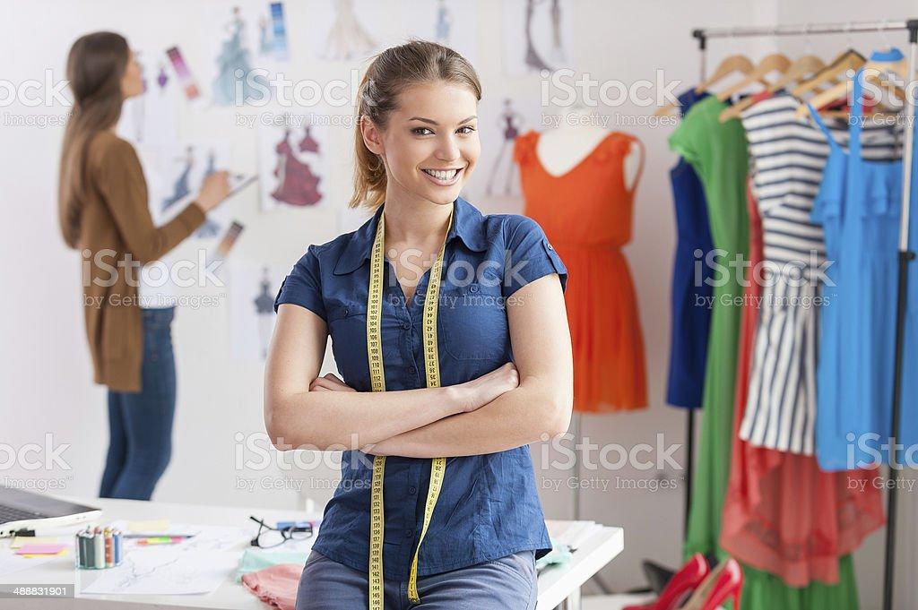 Fashion designers at work. stock photo