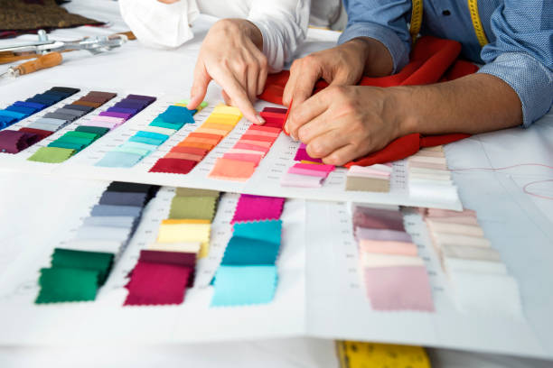 fashion designers - textile stock photos and pictures