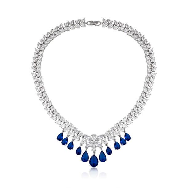 fashion diamond pendant isolated on white background - ожерелье стоковые фото и изображения