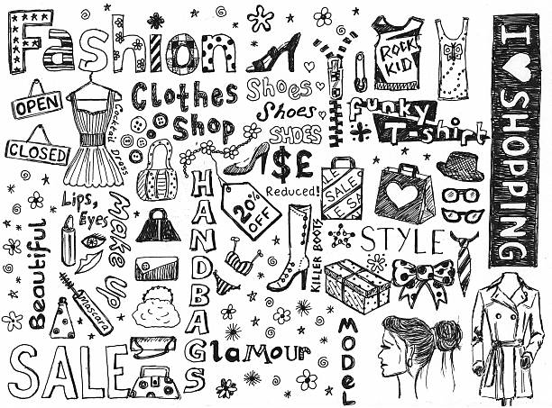 fashion doodles - doodle stock photos and pictures