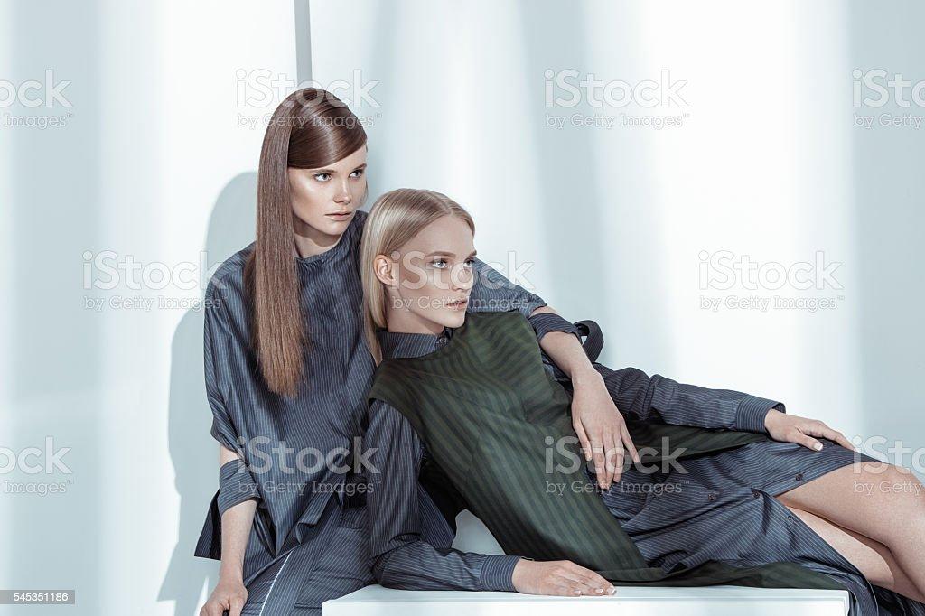 Fashion editorial shot in studio stock photo