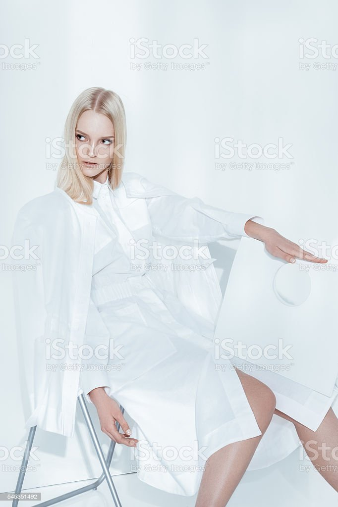 Fashion editorial shot in studio stock photo