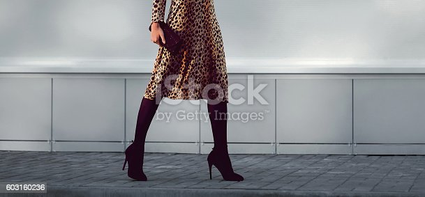 istock fashion elegant woman in dress on heels with handbag walking 603160236