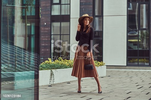 istock Fashion elegant woman wearing a black jacket, brown hat and skirt with a handbag clutch walking on the European city center. 1026123184