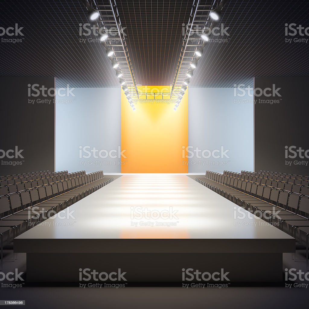 Fashion empty runway. stock photo