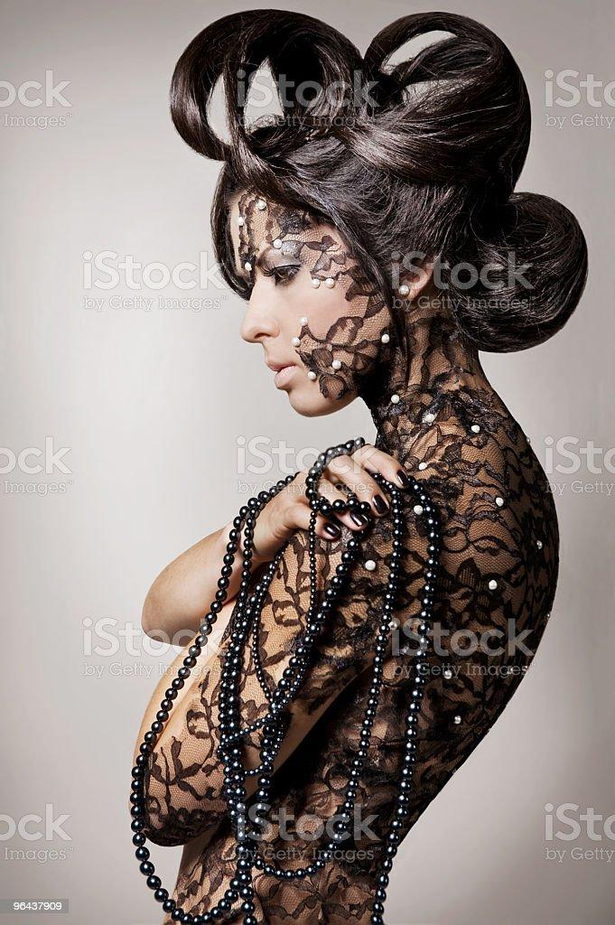 Fashion fake tattooed model woman - Royalty-free Alleen volwassenen Stockfoto