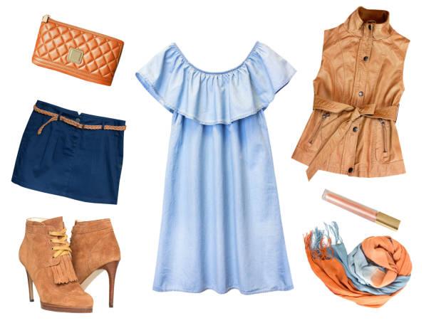 Fashion female clothes collage set isolated. stock photo