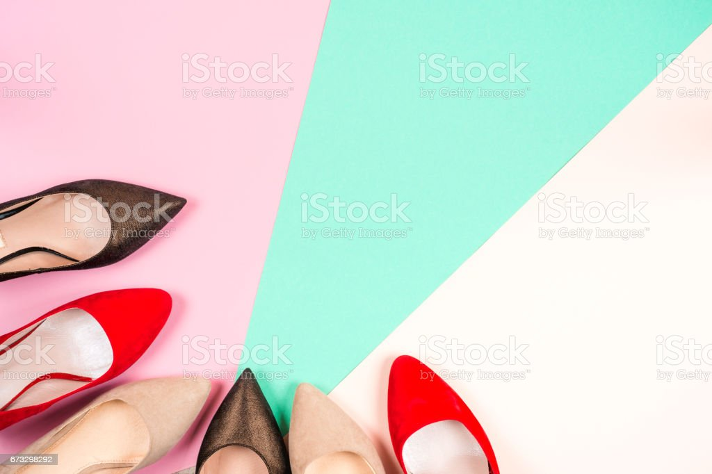Fashion, female different shoes on high heels royalty-free stock photo