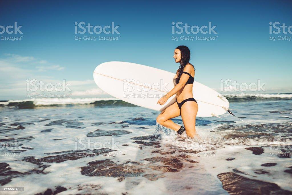 fashion fit woman on the beach in australia stock photo