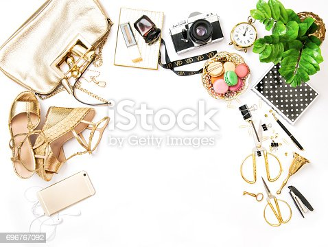 istock Fashion flat lay sale shopping accessories bag shoes 696767092