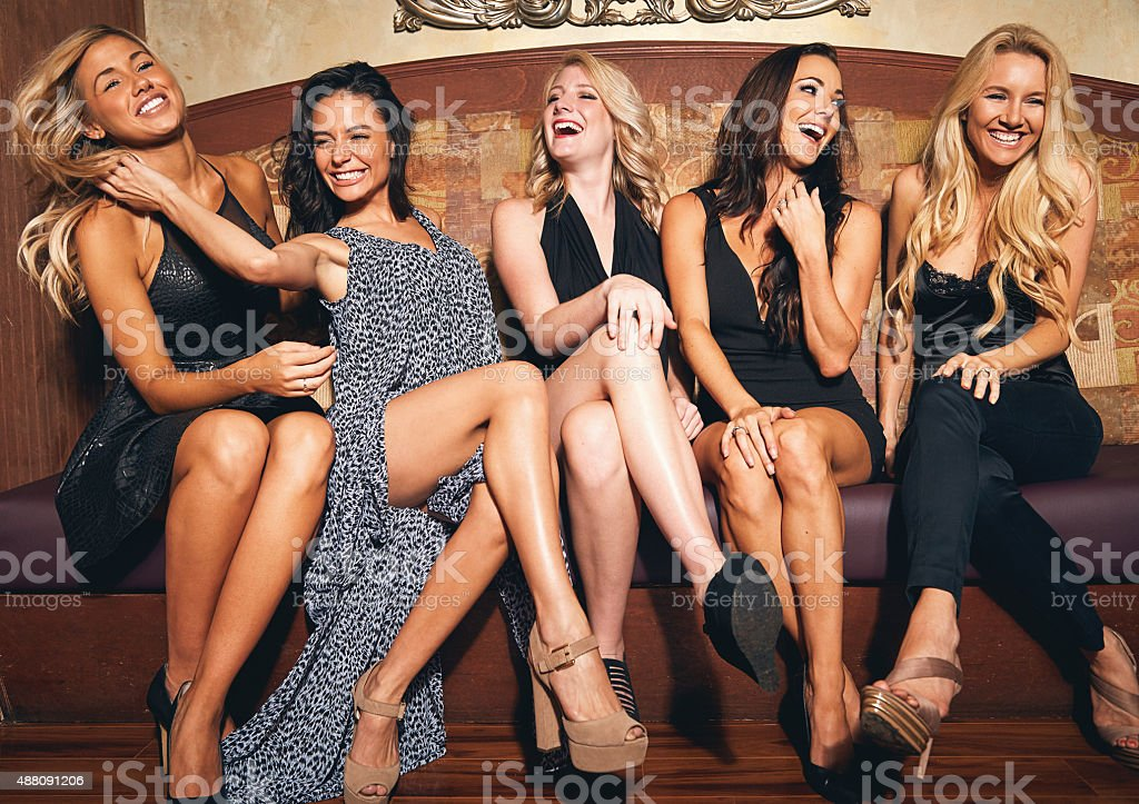 Fashion, fun, friends...it's girls' night! stock photo