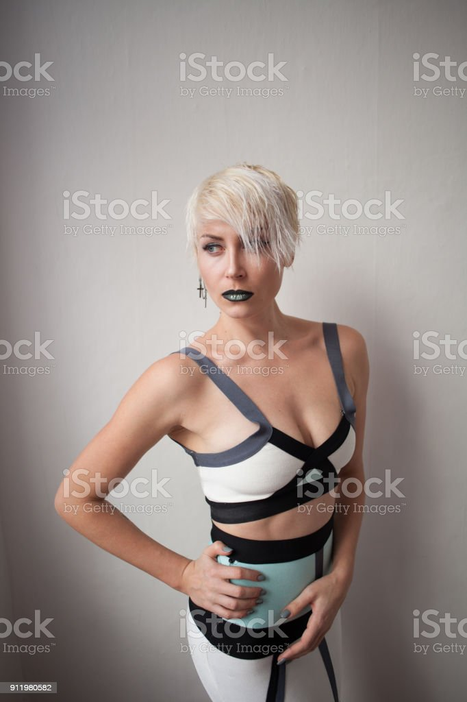 fashion girl blonde with short hair fashion stock photo
