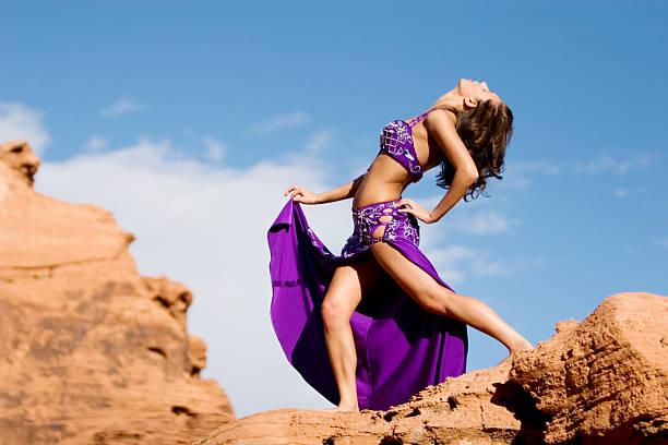 Fashion girl in belly dance dress stock photo