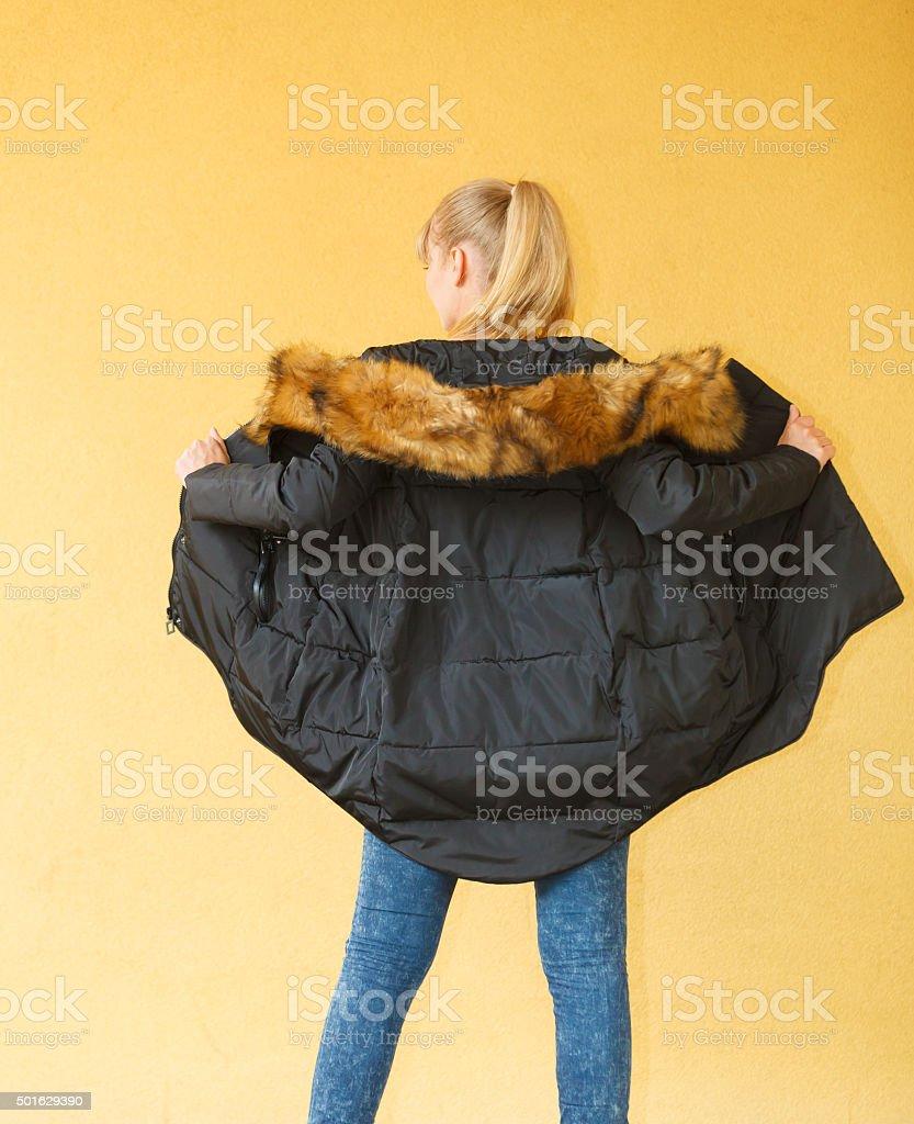 Fashion girl in black jacket. stock photo