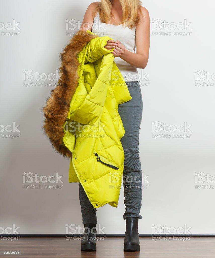 Fashion girl in jacket. stock photo