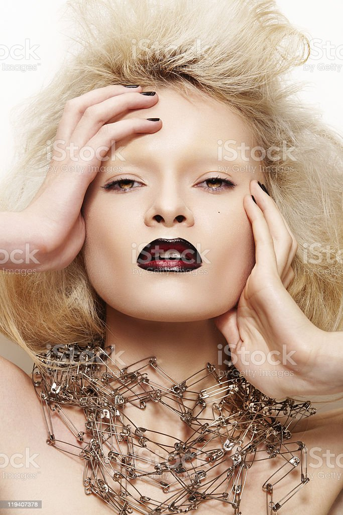 Fashion halloween looking. Woman model with dark lips stock photo