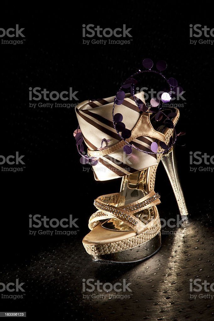 fashion high heel with tie stock photo