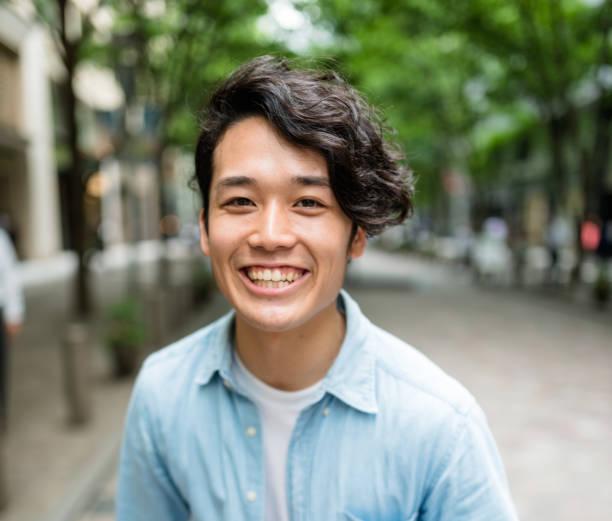 ファッション日本成人男性の肖像画 ストックフォト
