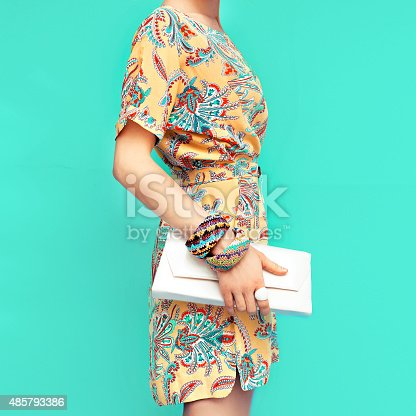 istock Fashion lady. Beach style. Clothing for vacations. Dress with st 485793386