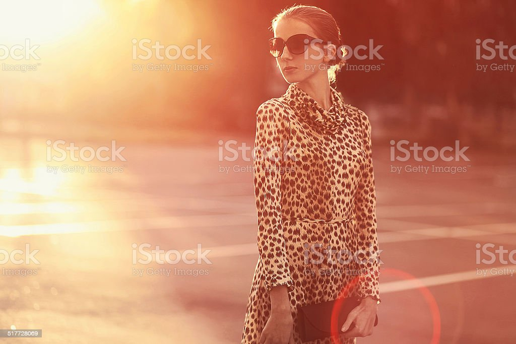 Fashion lifestyle portrait woman in a dress with leopard print stock photo