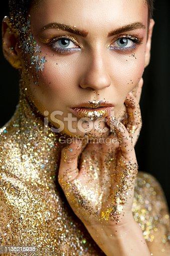 Fashion Lips Beauty Art Makeup, Woman Metallic Lipstick Make Up, Glittering Color