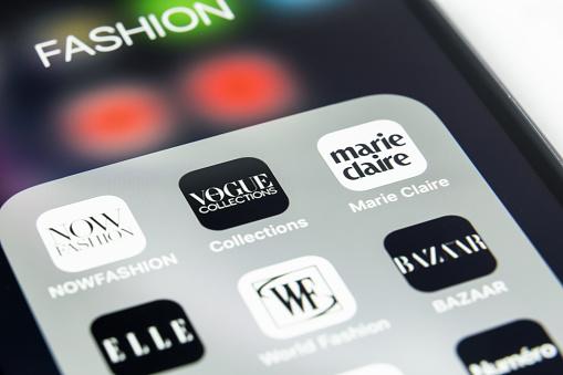 Tyumen, Russia - April 28,2019: Fashion magazin in mobile phone. Mobaile app