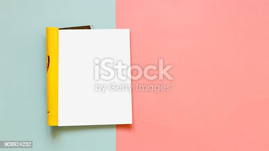istock Fashion magazine template on a pink and blue background. Mock up. Copy space 909924232