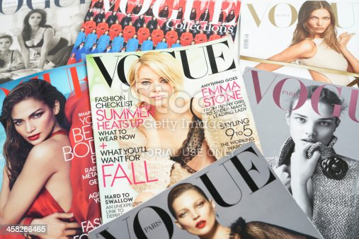 Seoul, Korea - September 9, 2012:Studio product shot of cover images of fashion  magazines, VOGUE, ELLE and Harper's BAZAAR for research and making up a fashion story.