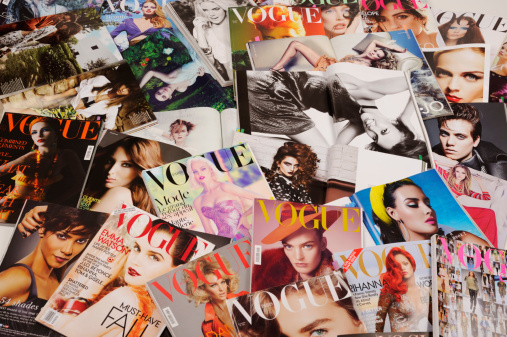 Seoul, Korea - January 8, 2012:Studio product shot of covers, fashion spreads and the advertising images of fashion  magazines, VOGUE. Fashion spreads and teas sheets are for research and making up a fashion story.