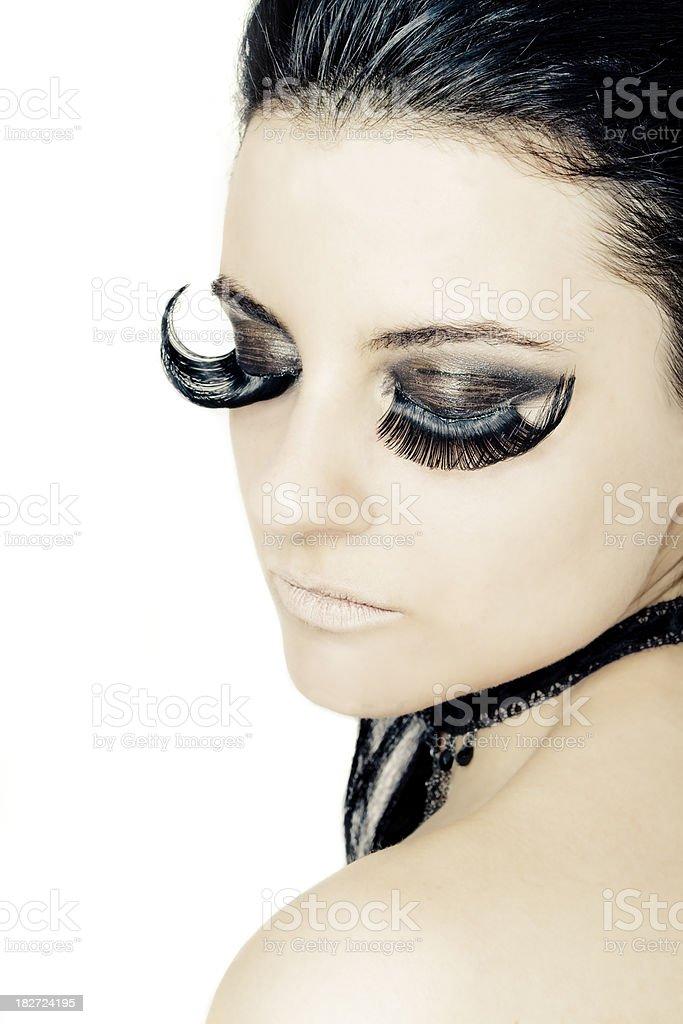 Fashion Makeup Extreme Eyelashes Beauty Real Model Isolated Stock