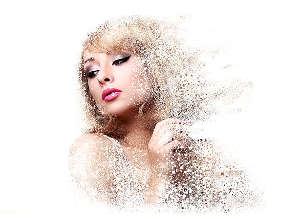 fashion makeup woman with pink lipstick and pixeled dispersion - pixellated stock photos and pictures