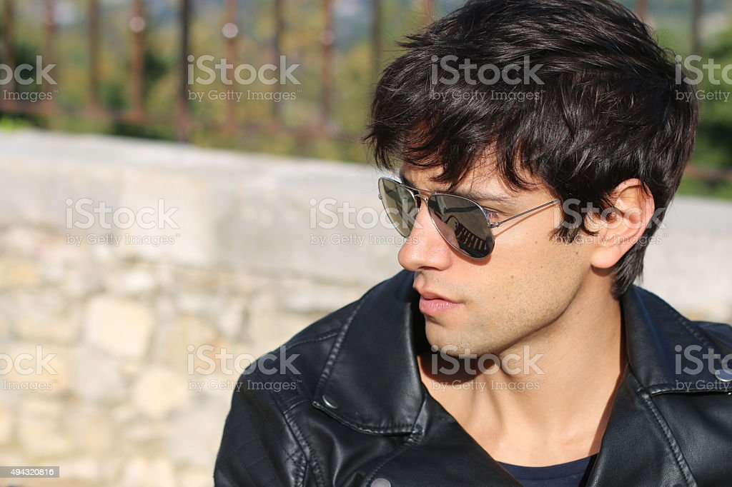 fashion man - man wearing aviator glasses stock photo