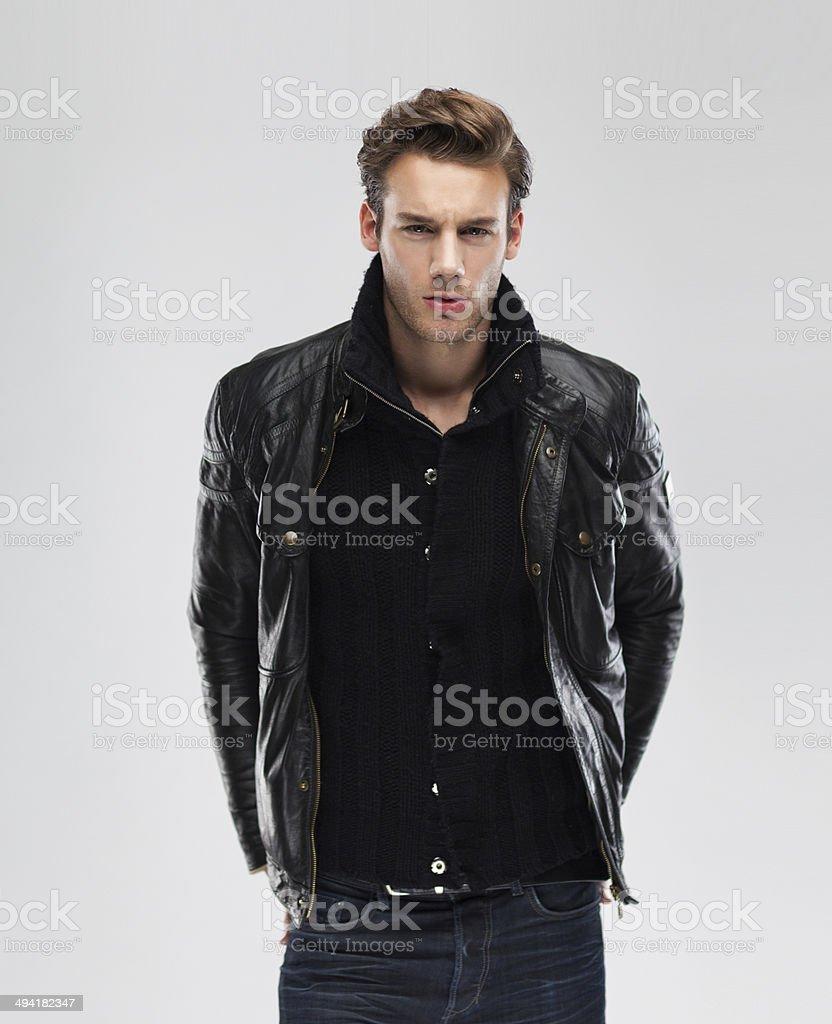 Hombre Modelo Fondo Fotografía Moda De Cuero Con Chaqueta q1xfSAvRnw
