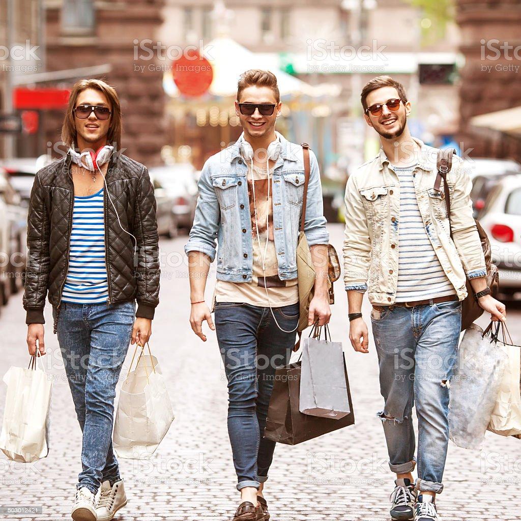 Fashion metraseksuals shop, shopping walk. stock photo