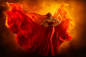 Fashion Model Art Fantasy Fire Dress, Blindfolded Woman Dreams in Red Flying Gown, Girl Beauty Portrait, Flame Wings Fluttering Fabric