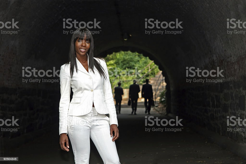 Fashion Model at a Tunnel Entrance royalty-free stock photo