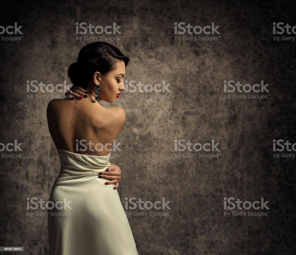 c2a79356caba Fashion Model Back, Elegant Woman in Sexy Dress, Lady in Beauty Gown  Lizenzfreies stock