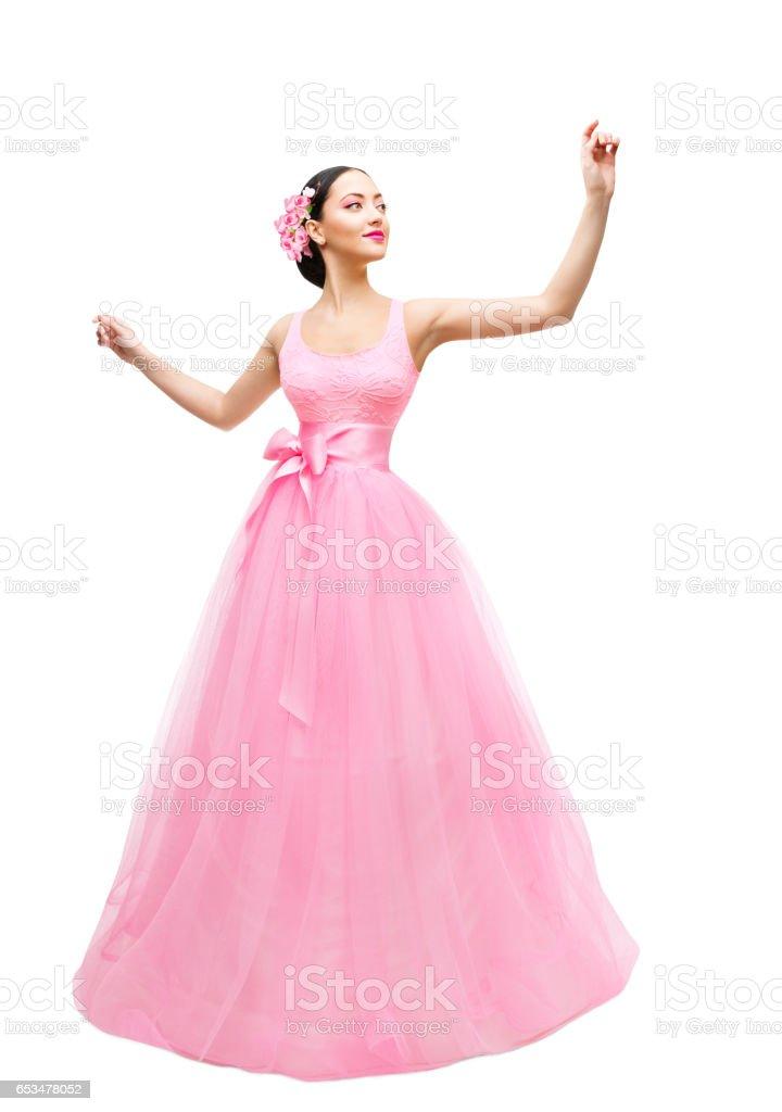 Mode Modell Ballkleid Frau Lange Rosa Kleid Junge Asiatin Over White ...