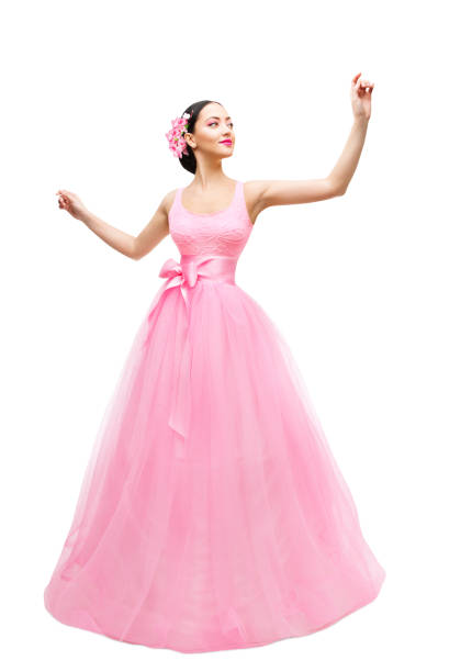 Fashion Model Ball Dress, Woman Long Pink Gown, Young Asian Girl over White Fashion Model in Ball Dress, Woman in Long Pink Gown, Young Asian Girl Isolated over White Background alternative pose stock pictures, royalty-free photos & images
